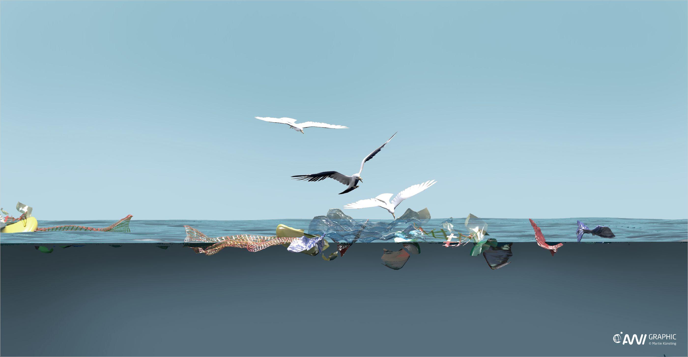 Detailzeichnung aus der AWI-Infografik: Wie gelangt der Müll ins Meer